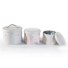 Pudełko dekoracyjne z metalu pastelowe trójkąty 11 cm - 13x13x11 - biały / różowy 3