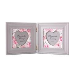 Ramka na zdjęcia z nadrukiem w kwiaty serce 34 x 2 x 17 - 34 X 2 X 17 cm - biały/różowy 1