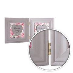 Ramka na zdjęcia z nadrukiem w kwiaty serce 34 x 2 x 17 - 34 X 2 X 17 cm - biały/różowy 6