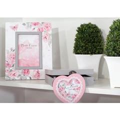 Ramka na zdjęcia z nadrukiem w kwiaty serce 34 x 2 x 17 - 34 X 2 X 17 cm - biały/różowy 3