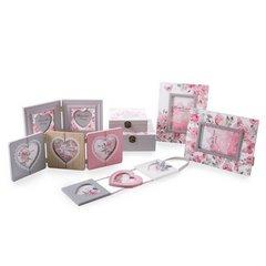 Ramka na zdjęcia z nadrukiem w kwiaty serce 34 x 2 x 17 - 34 X 2 X 17 cm - biały/różowy 5
