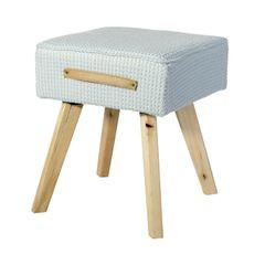 Dekoracyjny taboret drewno vintage 34 x 34 x 42 cm - 34 X 34 X 42 cm - błękitny 1