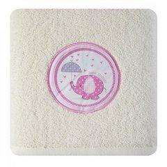 Ręcznik dziecięcy z aplikacją z różowym słonikiem baby shower 70x140cm - 70 X 140 cm - kremowy 3