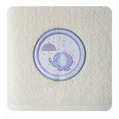 Ręcznik dziecięcy z aplikacją z niebieskim słonikiem baby shower 50x90cm - 50 X 90 cm - kremowy 3