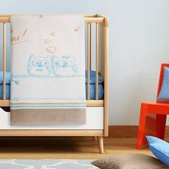 Koc dziecięcy sowy niebiesko-kremowy 100 x 120 cm - 100 X 120 cm - kremowy/mix kolorów 1
