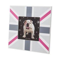 Ramka na zdjęcia z motywem brytyjskiej flagi 17 x 17 x 1 cm  - 17 X 17 X 1 cm - szary/różowy 1