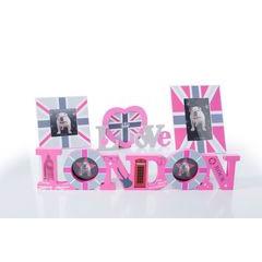 Ramka na zdjęcia z motywem brytyjskiej flagi 17 x 17 x 1 cm  - 17 X 17 X 1 cm - szary/różowy 2