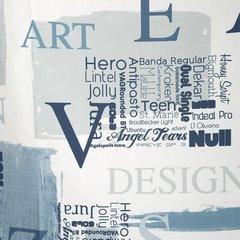 Zasłona młodzieżowa z typograficznym nadrukiem przelotki 140x250cm - 140 X 250 cm - niebieski/stalowy 4
