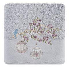 Ręcznik haftowany ptaszki na gałązce 50x90cm - 50 X 90 cm - srebrny 1