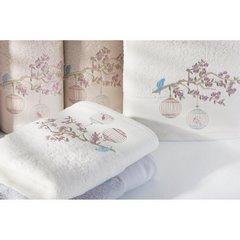 Ręcznik haftowany ptaszki na gałązce 50x90cm - 50 X 90 cm - srebrny 5