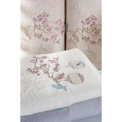 Ręcznik haftowany ptaszki na gałązce 50x90cm - 50 X 90 cm - srebrny 2