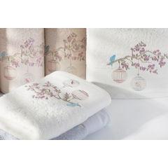 Ręcznik haftowany ptaszki na gałązce 50x90cm - 50 X 90 cm - srebrny 3