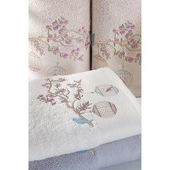 Ręcznik haftowany ptaszki na gałązce 50x90cm - 50 X 90 cm - srebrny 4