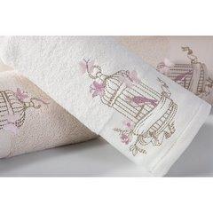 Ręcznik haftowany ptaszki w klatce kremowy 70x140cm - 70x140 - kremowy 3