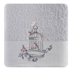 Ręcznik haftowany ptaszki w klatce kremowy 50x90cm - 50 X 90 cm - srebrny 1