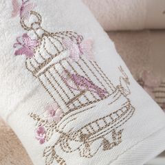 Ręcznik haftowany ptaszki w klatce kremowy 50x90cm - 50 X 90 cm - srebrny 2