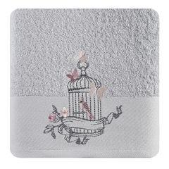 Ręcznik haftowany ptaszki w klatce popielaty 70x140cm - 70 X 140 cm - srebrny 1