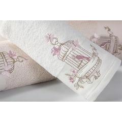 Ręcznik haftowany ptaszki w klatce popielaty 70x140cm - 70 X 140 cm - srebrny 3