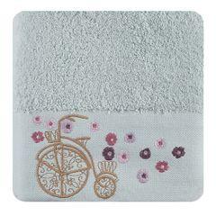 Ręcznik z haftem na bordiurze rower i kwiaty 50x90cm - 50 X 90 cm - niebieski 1
