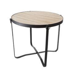 Stolik drewno metal kawowy 46 x 40 cm - ∅ 46 X 40 cm - czarny/jasnobrązowy 1