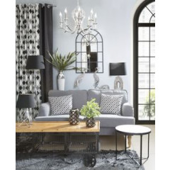 Stolik drewno metal kawowy 46 x 40 cm - ∅ 46 X 40 cm - czarny/jasnobrązowy 3