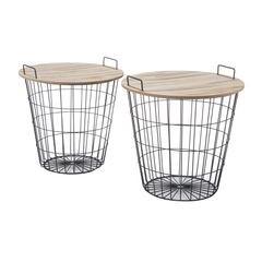 Komplet dwóch stolików drewno metal 42 x 42 x 45 cm / 4 - 42 X 42 X 45 cm / 45 X 45 X 46 cm - czarny/brązowy 1
