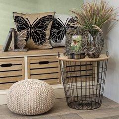 Komplet dwóch stolików drewno metal 42 x 42 x 45 cm / 4 - 42 X 42 X 45 cm / 45 X 45 X 46 cm - czarny/brązowy 5