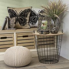 Komplet dwóch stolików drewno metal 42 x 42 x 45 cm / 4 - 42 X 42 X 45 cm / 45 X 45 X 46 cm - czarny/brązowy 2