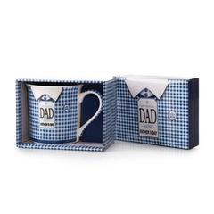 Kubek tata porcelana 325 ml - 325 ml - biały/niebieski 2