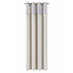 Zasłona beżowa z aplikacjami 140x250 cm przelotki - 140 X 250 cm - beżowy/stalowy 5