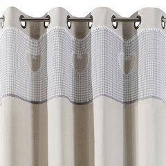 Zasłona beżowa z aplikacjami 140x250 cm przelotki - 140 X 250 cm - beżowy/stalowy 4