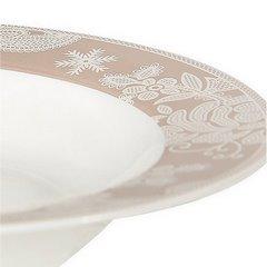 Talerz głęboki kwiatowy ornament biało-beżowy średnica 22 cm - średnica 22 cm - biały/beżowy 7