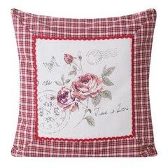 Poszewka na poduszkę róża 40 x 40 cm  - 40x40 - naturalny / czerwony 1