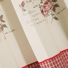 Zasłona łączona kratka+kwiaty rustykalna przelotki 140x250cm - 140 X 250 cm - czerwony 3