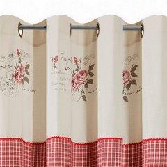 Zasłona łączona kratka+kwiaty rustykalna przelotki 140x250cm - 140 X 250 cm - czerwony 6