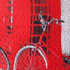 Narzuta dwustronna młodzieżowy wzór budki telefoniczne 170x210cm - 170 X 210 cm - szary/czerwony 8
