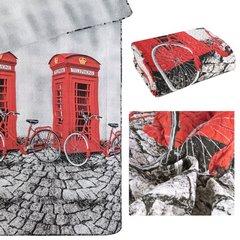 Narzuta dwustronna młodzieżowy wzór budki telefoniczne 170x210cm - 170 X 210 cm - szary/czerwony 9