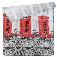 Narzuta dwustronna młodzieżowy wzór budki telefoniczne 170x210cm - 170x210 - szary / czerwony 3