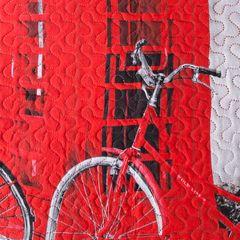 Narzuta dwustronna młodzieżowy wzór budki telefoniczne 170x210cm - 170x210 - szary / czerwony 2