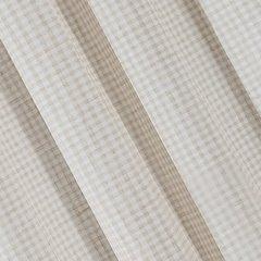 Zasłona w rustykalnym stylu krateczka+aplikacja beżowa szelki 140x250cm - 140x250 - beżowy / biały 1