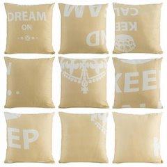 Poszewka na poduszkę 40 x 40 cm keep calm beżowa  - 40 X 40 cm - beżowy/kremowy 1