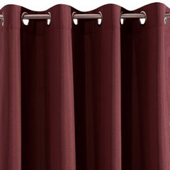 Bordowa gładka zasłona z matowej satyny 140x250 przelotki - 140 X 250 cm - bordowy 6