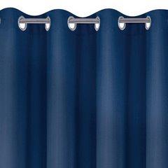 Niebieska gładka zasłona z matowej satyny 140x250 przelotki - 140 X 250 cm - ciemny niebieski 6