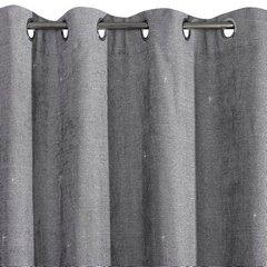 Zasłona gotowa z błyszczącą nicią 140x250 cm przelotki - 140 X 250 cm - szary 6
