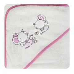Ręcznik dziecięcy z aplikacją z myszkami i kapturkiem 75x75cm - 75 X 75 cm - kremowy 2