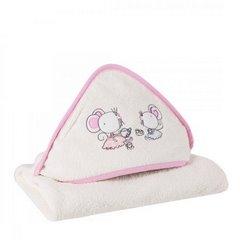 Ręcznik dziecięcy z aplikacją z myszkami i kapturkiem 75x75cm - 75 X 75 cm - kremowy 3