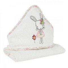 Dziecięcy ręcznik kąpielowy z kapturem króliczek 75x75 cm - 75 X 75 cm - kremowy 3