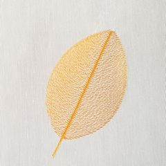 Jesienna zasłona z organtyny haftowane liście 140x270cm - 140 X 270 cm - kremowy/pomarańczowy 2