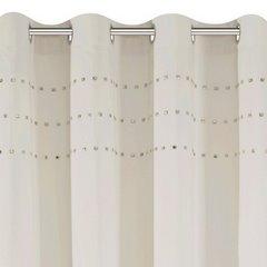 Zasłona beżowa z połyskującą aplikacją na przelotkach 140 x 250 cm  - 140x250 - beżowy 5