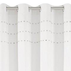 Zasłona kremowa z połyskującą aplikacją na przelotkach 140 x 250 cm  - 140x250 - kremowy 3